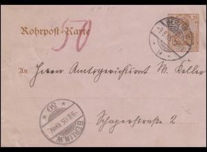 Rohrpost-Karte RP 13 Germania 25 BERLIN W.9 - 9.8.05 nach BERLIN W.50 - 9.8.05
