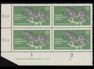 825 Dresdner Zoo Zebra: Eckrand-Viererblock mit DV 3 laut Abbildung, **