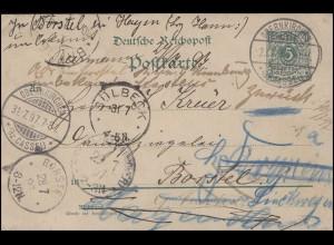 Postkarte Ziffer 5 Pf OBERNKIRCHEN 28.7.97 über BORSTEL 28.7. und SÜLBECK 31.7.