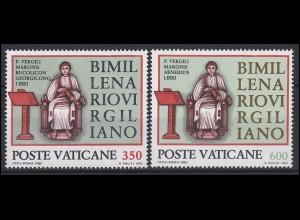 Vatikan: Dichter und Epiker Vergil, 2 Marken, Satz **