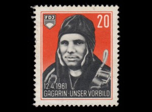 FDJ-Spendenmarke Juri Gagarin - 12.4.61- 1. Weltraumflug, rücks. kleine Mängel *