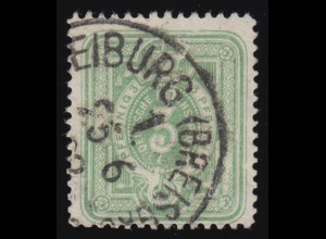 39c Ziffer 3 Pfennig in Farbe c mit PLF V zwei Riesenperlen, gestempelt 1888