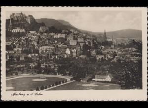 Ansichtskarte: Marburg an der Lahn - Stadtansicht, EF MARBURG 23.8.41 nach Leoni