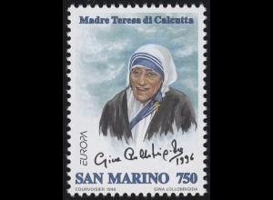 San Marino: EUROPA / CEPT Mutter Teresa von Kalkutta 1996, Marke **
