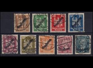 105-113 Dienstmarken Reichsadler / Stephan - Satz saubere Bedarfs-O zeitgerecht