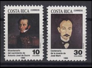 Costa Rica: Gemälde Paintings Antonio José de Sucre & José Martí, Satz **