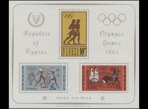 Zypern: Olympia Tokio 1964 - Boxer, Läufer, Streitwagen, Block 2 **