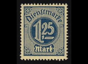 72 Dienstmarke 1,25 Mark - satiniertes Friedenspapier, ** INFLA-geprüft