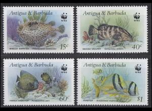 Antigua und Barbuda WWF Fische - Burrfish Angelfish Porkfish Grouper, 4 Werte **