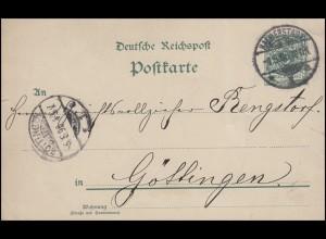 Postkarte 5 Pf. Ziffer REICHSPOST von HALBERSTADT 4.5.96 nach GÖTTINGEN 5.5.96