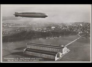 Ansichtskarte Luftschiff Graf Zeppelin über der Werft, FRIEDRICHSHAFEN 16.8.30