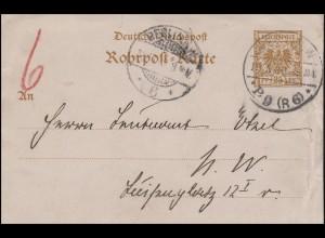 Rohrpost-Karte RP 8 Adler 25 BERLIN P9 (R6) 18.10.99 nach BERLIN N.W. 18.10.99