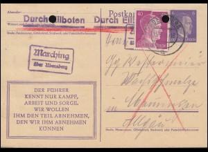 Landpost Marching über ABENSBERG 15.3.44, Eil-Postkarte P 312a/08 mit Zusatzfr.