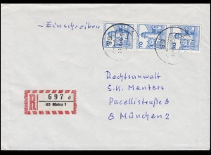 918AI BuS 3x 70 Pf. Mespelbrunn als MeF auf R-Brief MAINZ 5.6.79 nach München