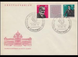 893-894 Dimitrow 1962 als Zusammendruck W Zd 31 auf FDC ESSt BERLIN 18.6.62