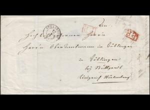 Frankreich Vorphilatelie Briefhülle STRASBOURG 1845 nach Böblingen mit 2 P.P.-O