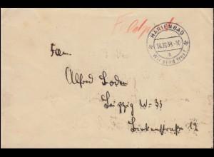 Feldposbrief MARIENBAD (Böhmen) Wir sind frei! 14.10.1938 nach Leipzig