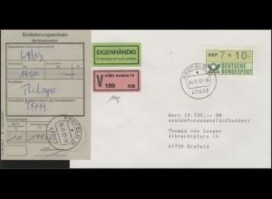 1.1 Wertfehldruck DBP 7*10 als EF auf V-Brief-Eigenhändig, Krefeld 24.11.97