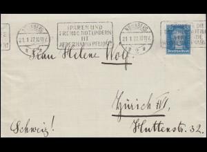 393 Goethe 25 Pf EF auf Auslandsbrief NÜRNBERG Sparen und Notlindern 21.1.1927