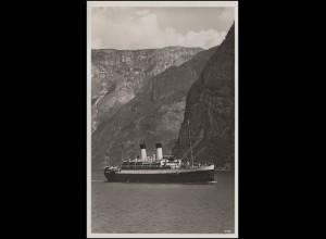 Schiffspost KRAFT DURCH FREUDE See-Reisen mit MS MONTE OLIVIA auf AK Im Fjord
