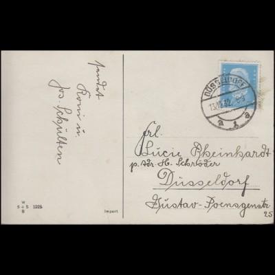 454 Hindenburg 4 Pf. EF AK Namenstag als Ort-Postkarte DÜSSELDORF 1 a - 13.12.32