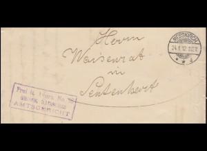 Frei laut Avers No. 16 GROSSH. BADISCHES AMTSGERICHT Brief MESSKIRCH 24.1.1912