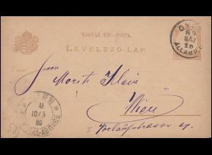 Ungarn Postkarte P 6 Ziffer 2 Kreuzer von GYÖR 10.5.89 nach WIEN 10.5.1889