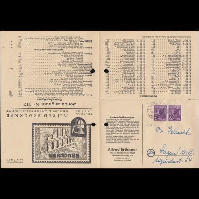 2 Schwarzaufdruck 6 Pf im Paar Preisliste als Faltbrief Brückner BERLIN 31.10.48