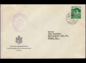 Dienst D 20 Aufdruckmarke 5 Rp Regierungs-Drucksache VADUZ 13.12.1939 nach Prag