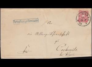 """33 Adler 10 Pfennige als EF auf """"Portopflichtige Dienstsache"""" BORNA 9.4.1878"""