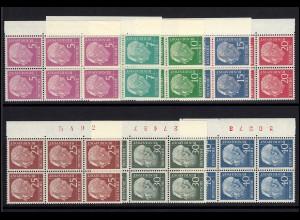 179-260y Heuss lumogen 8 Werte, Sechserblöcke / BZN, ** postfrisch ungefaltet