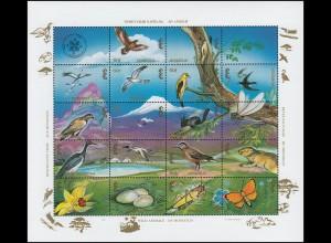 Mongolei 2511-2528 Wildtiere WILD ANIMALS OF MONGOLIA ZD-Kleinbogen 1994, **