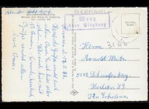 Landpost Weeg über Siegburg auf AK Müttererholungsheim Hausen, gelaufen 1962