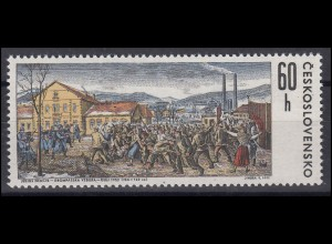 Tschechoslowakei: Aufstand von Krompachy Gemälde 1971, 1 Marke postfrisch **