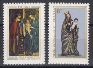 Polen: Christliche Gemälde & Skulpturen - Madonnen, 2 Werte, Satz **