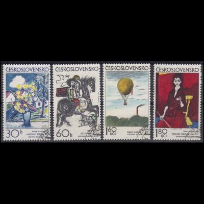 Tschechoslowakei: tschechische Maler Gemälde 1973, 4 Werte gestempelt O