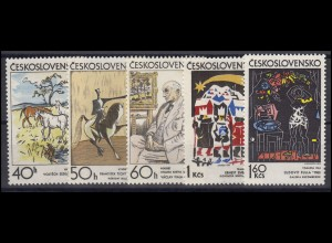 Tschechoslowakei: tschechische Künstler Gemälde 1972, 5 Werte postfrisch **