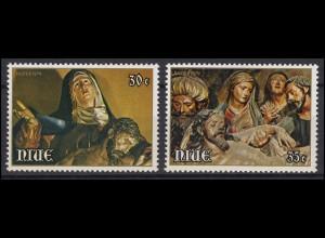 Niue: Easter & Ostern 1979 Gemälde Auferstehung Christus, 2 Werte postfrisch **