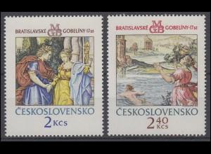 Tschechoslowakei: Wandteppiche aus Bratislava 1974, 2 Werte postfrisch **