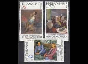 Bulgarien: Moderne Kunst Gemälde 1984, 3 Werte, Satz **