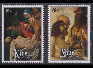 Niue: Easter & Ostern 1978 Gemälde im Vatikan Auferstehung Christus, 2 Werte **