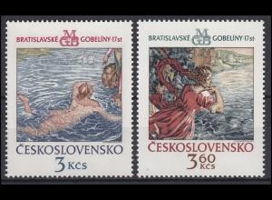 Tschechoslowakei: Wandteppiche aus Bratislava 1975, 2 Werte postfrisch **