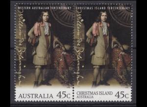 Australien: Western Australia, Weihnachtsinseln 1996, 2 Marken Zusammendruck **