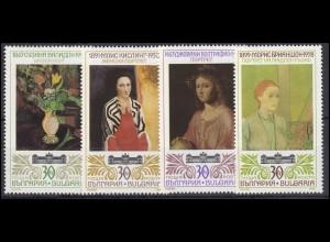 Bulgarien: Kunst Gemälde 1990, 4 Werte, Satz **