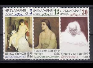 Bulgarien: Gemälde Portraits 1986, 3 Werte, Satz **