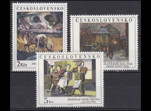 Tschechoslowakei: Gemälde aus Nationalgalerien 1989, 3 Werte, Satz **