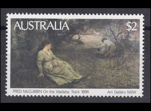 "Australien: Fred McCubbin ""On the Wallaby Track"" Gemälde, 1 Marke **"