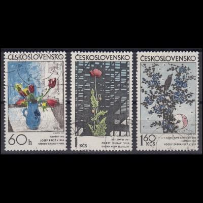 Tschechoslowakei: Blumen Illustrationen Gemälde 1974, 3 Werte gestempelt O