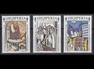 Albanien: 20. internat. Tag des Tourismus Gemälde 1995, 3 Werte postfrisch **