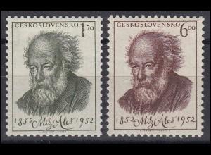 Tschechoslowakei: Mikoláš Aleš 1952, Maler & Illustrator, Satz * Falz
